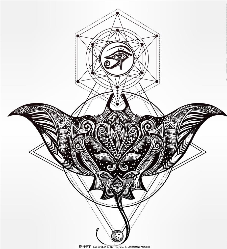 手绘装饰画 海洋生物 魔鬼鱼 鱼类 塔罗牌 眼睛 线描黑白动物矢量图