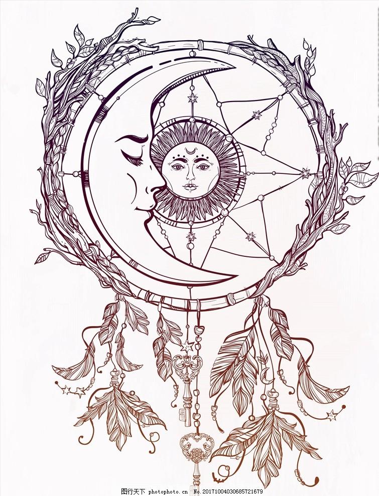 太阳月亮图腾矢量图下载