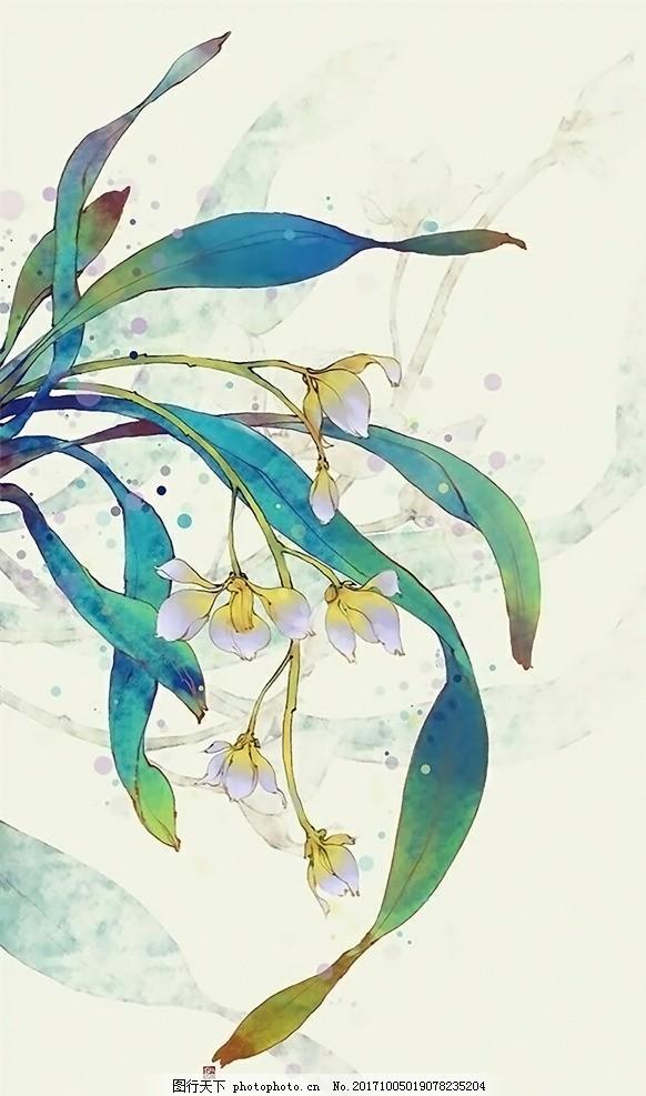 古风 梅兰竹菊 植物 手绘插画 山水 水墨 彩绘 梅兰竹菊屏风 兰花字画