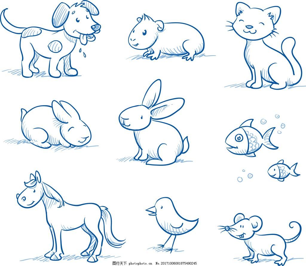 手绘可爱的小动物插画 简笔画 手绘 可爱 小动物 插画 小狗 小猫 兔子
