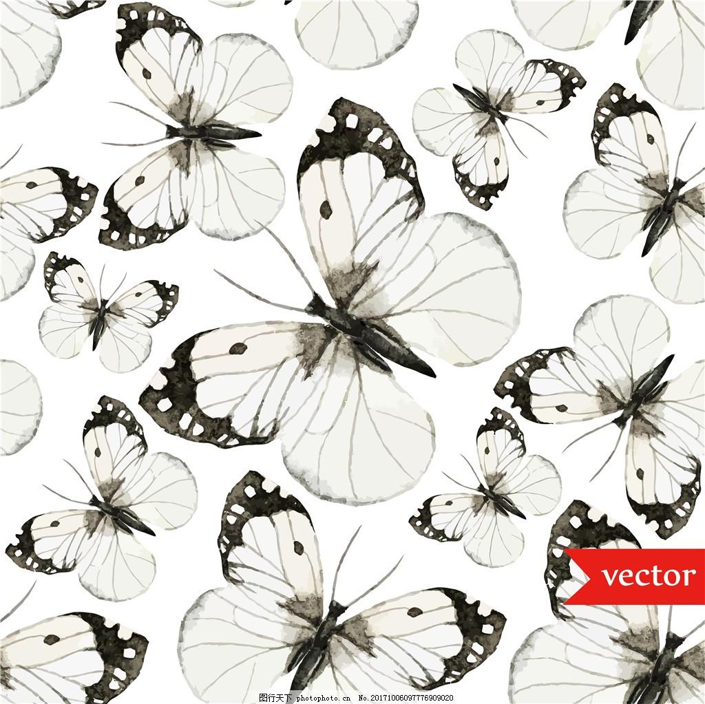 清新典雅黑白灰蝴蝶壁纸图案装饰设计 简约高冷 动物壁纸