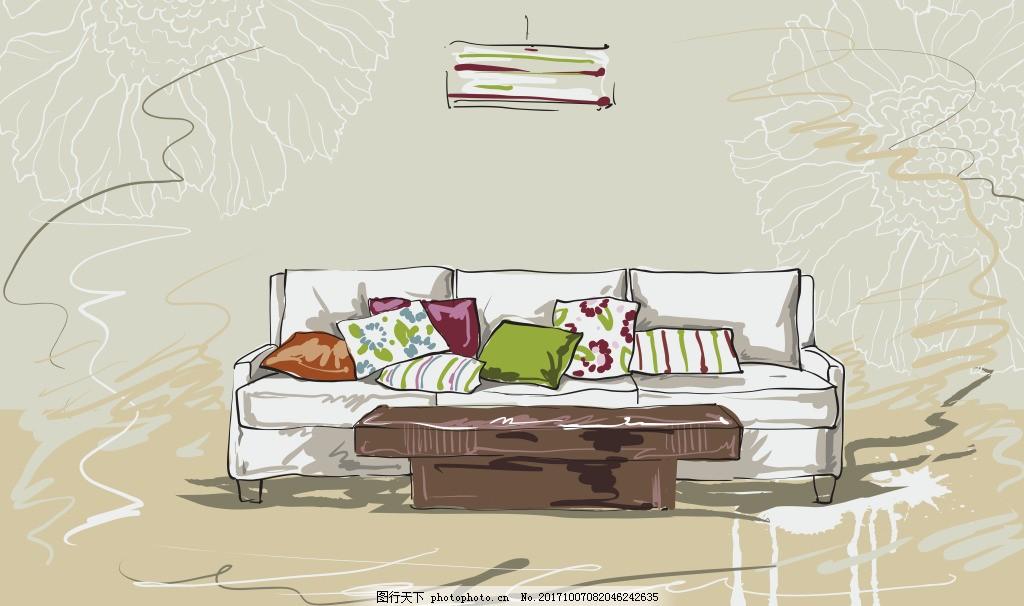 速写手绘三人沙发插画 艺术 家具 家居