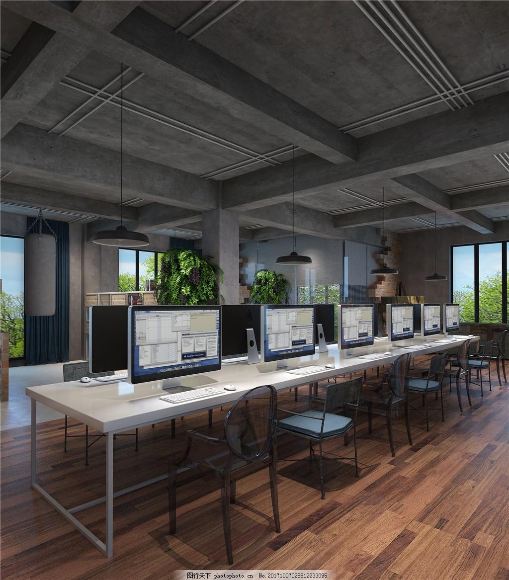 现代特色工业风办公室工装效果图