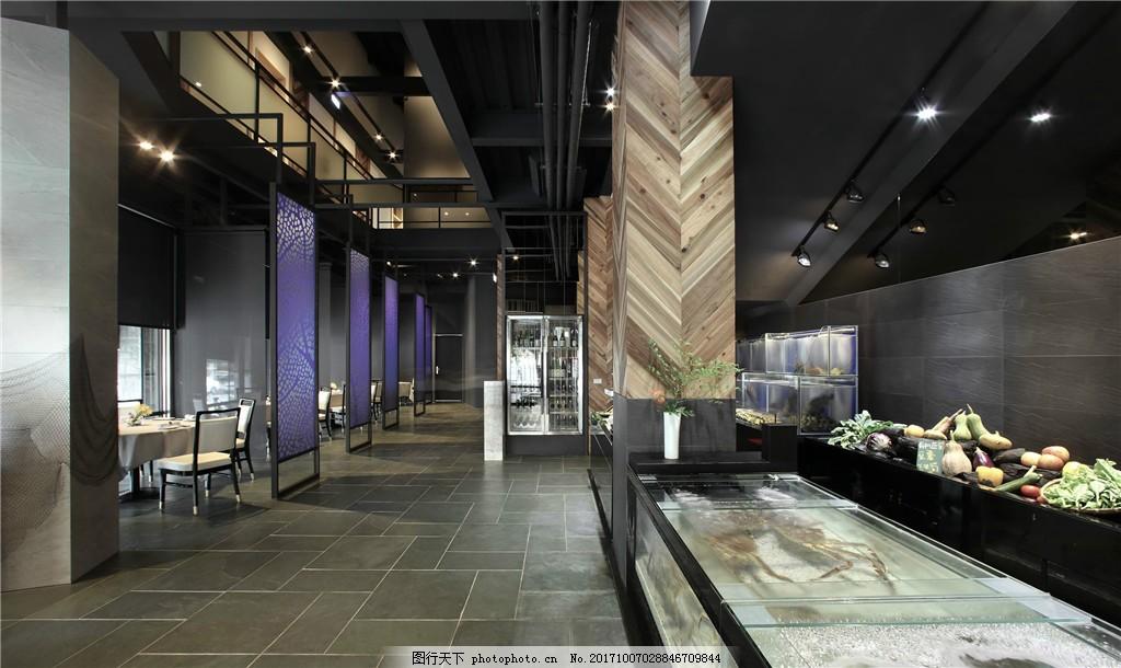 現代時尚大氣餐廳褐色柱子工裝裝修效果圖