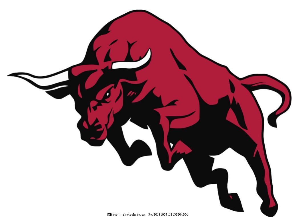 手绘红色斗牛图免抠png透明素材 奔跑的红色公牛 愤怒的红色公牛