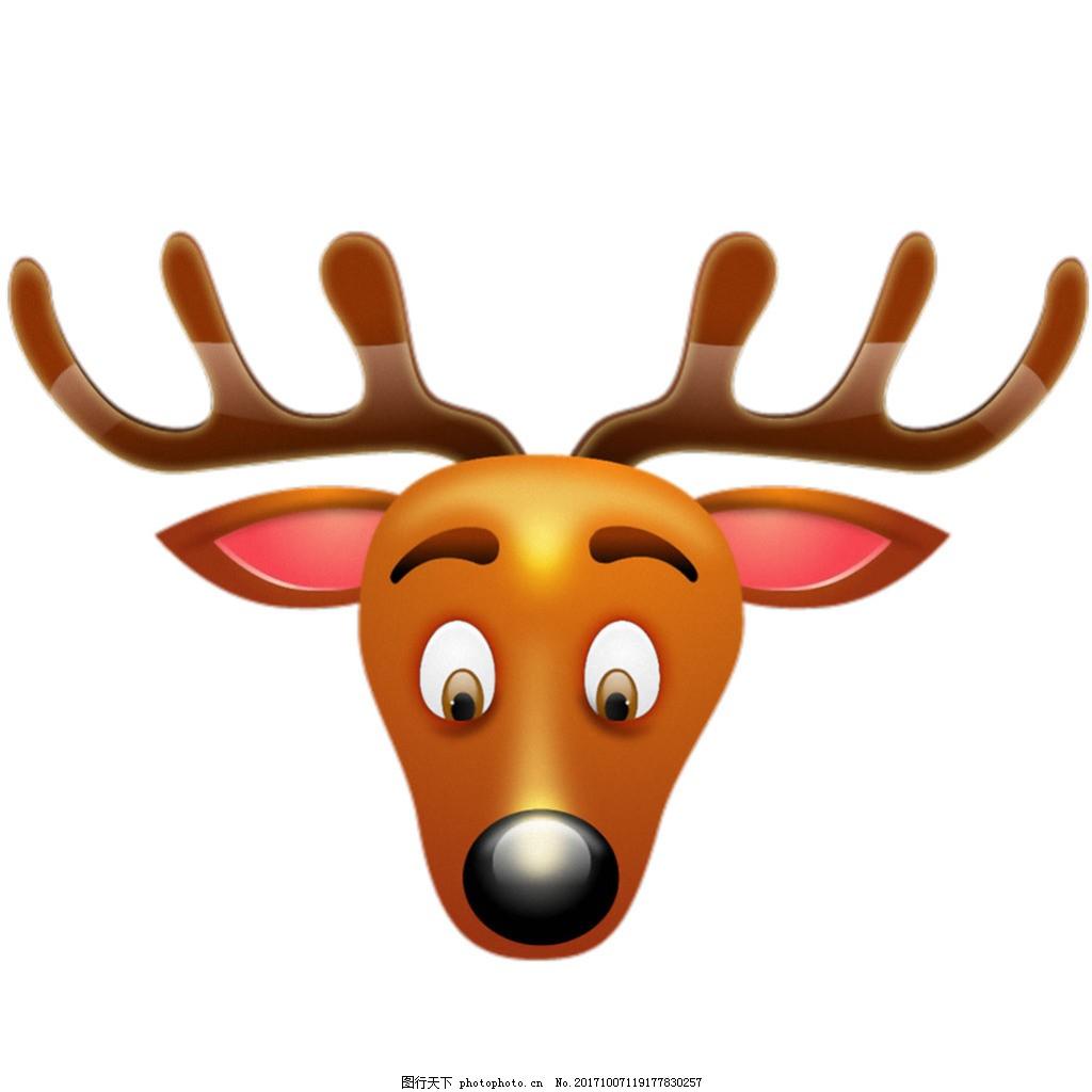 卡通手绘鹿头免抠png透明素材 卡通手绘鹿图片 可爱的卡通手绘鹿