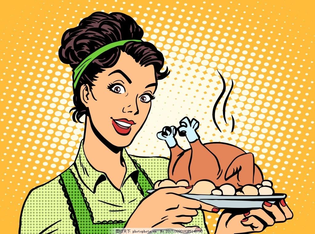 趣味端美味的美女人物 手绘 插画 趣味 美味 烧鸡 美女 人物 服务员