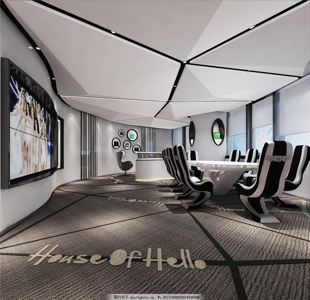 沉稳创意北欧风格办公室会议室装修效果图图片