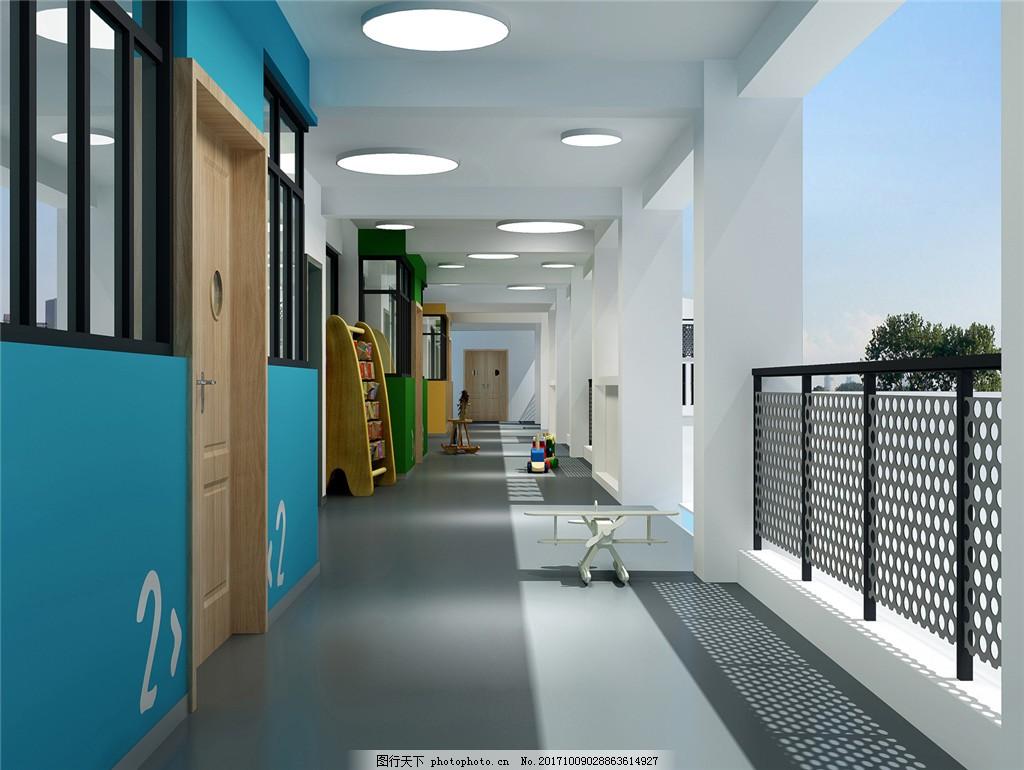 室内设计 家装设计 学校 幼儿园 操场 可爱 学校装修效果图 动物墙面