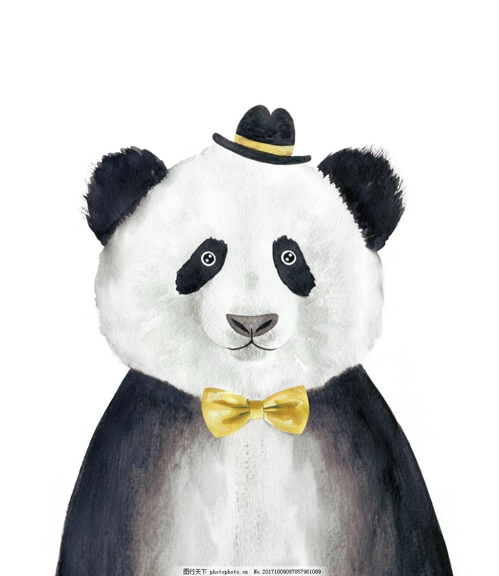 可爱大熊猫装饰画 黑白 童真 动物 卡通 手绘 线描