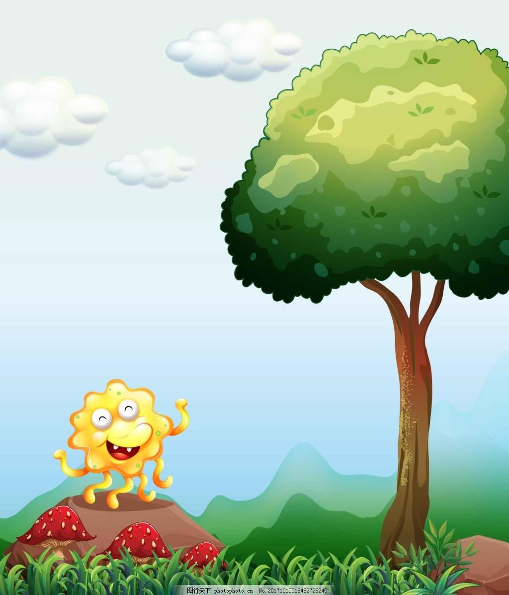 卡通可爱自然大树插画 太阳 白云 小草 春天