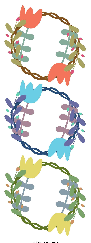 插画配图花框背景素材 透明背景 水彩手绘 花环 花圈 框架 边框背景