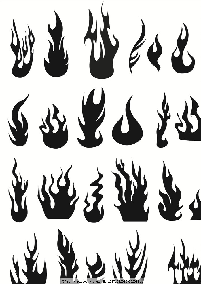 火苗火焰大全 黑白 简约 背影 剪影 点火 火魔 燃烧 点燃 焰火