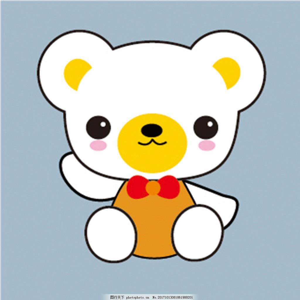 卡通可爱小熊插画素材 正方形 红色 原创 素材插画