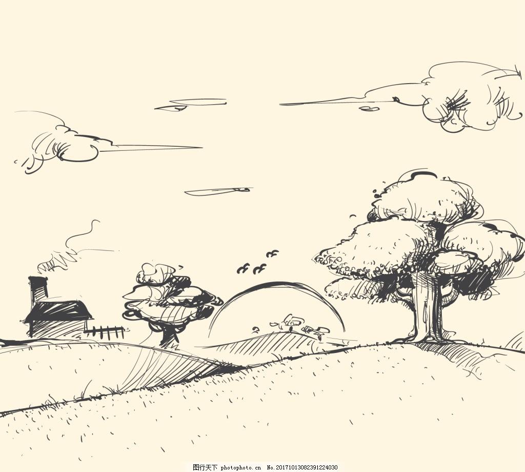 手绘线描黄昏风景画