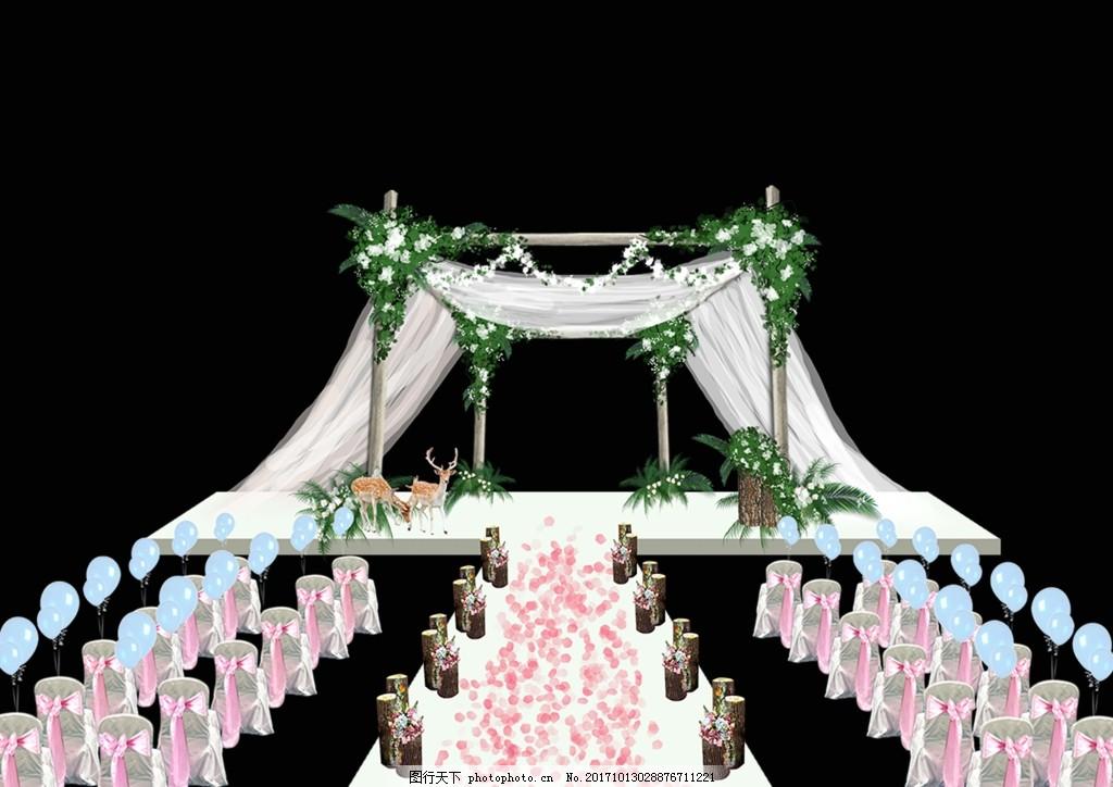 主舞台效果图设计 森林系婚礼 户外婚礼 婚礼舞台 户外婚礼效果图