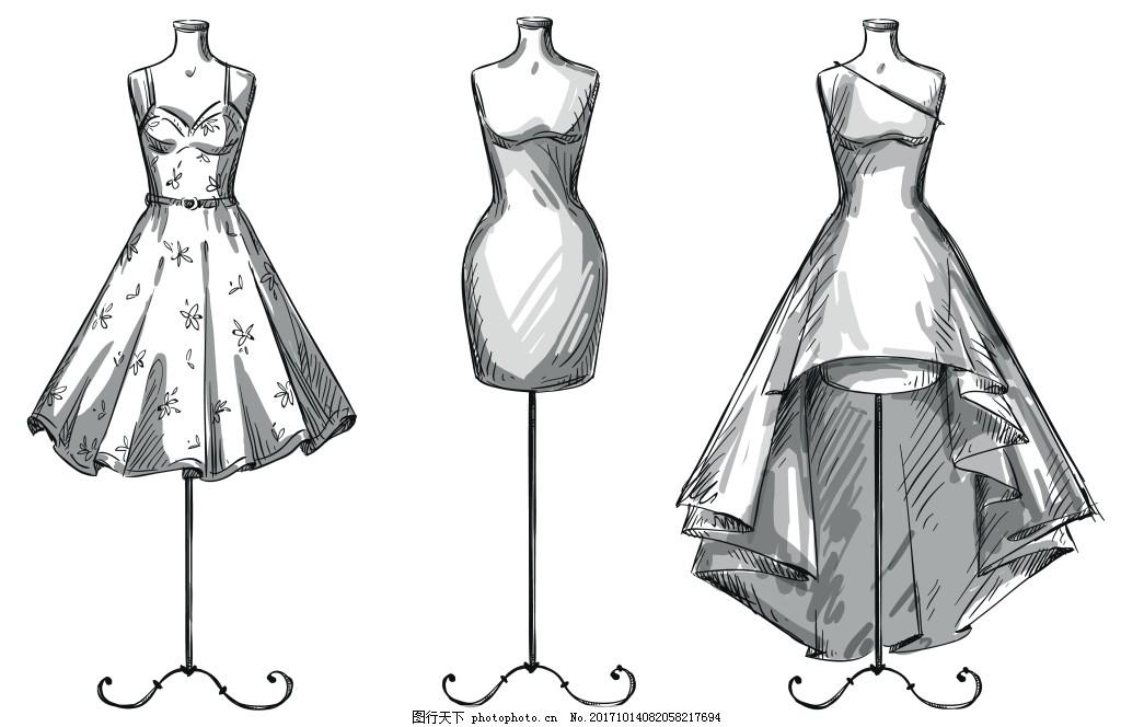 手绘创意服装样稿插画 静物 手绘 设计 创意 服装 样稿 礼服 插画图片