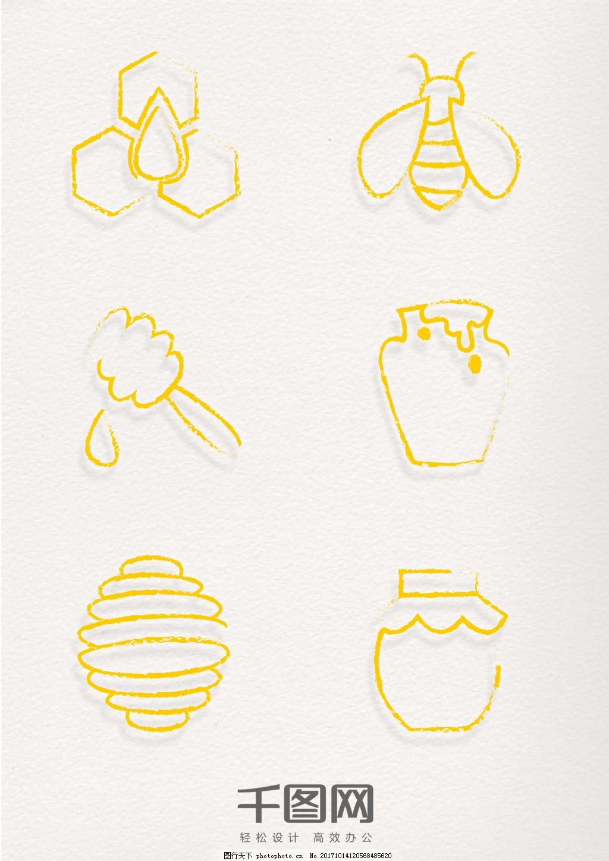 手绘风格蜜蜂元素金色印章