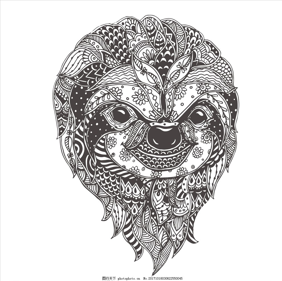 手绘线描黑白动物矢量图下载