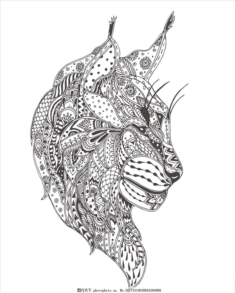 线描画图片大全动物类_枫叶线描画