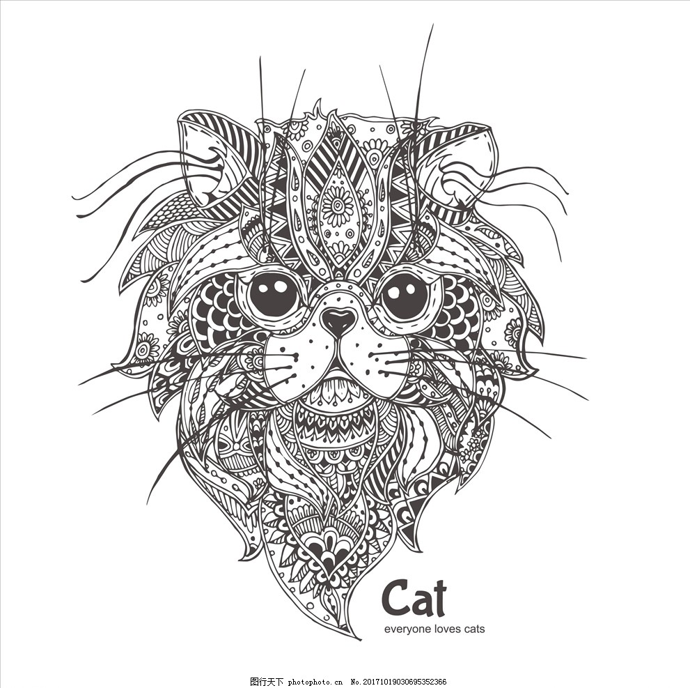 手绘线描黑白动物矢量图下载 外包装设计 吊牌包装模板 服装印花
