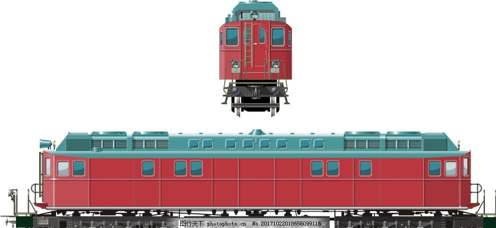 火车头火车侧面矢量图