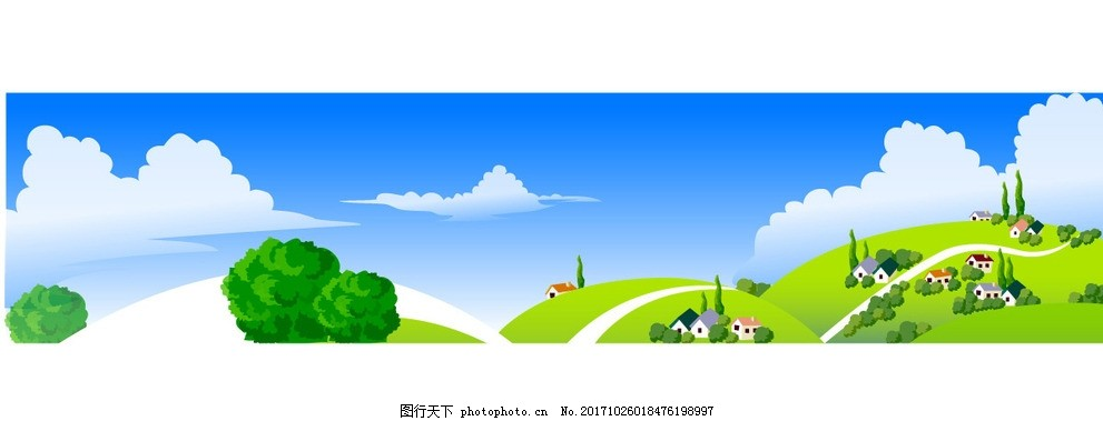 清新春天动漫矢量 山丘 村庄 村落 树木 草地 草坪 蓝天白云
