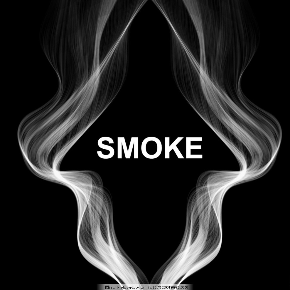 两束波浪形烟雾背景矢量素材 黑色背景 白色烟雾 唯美波浪 梦幻