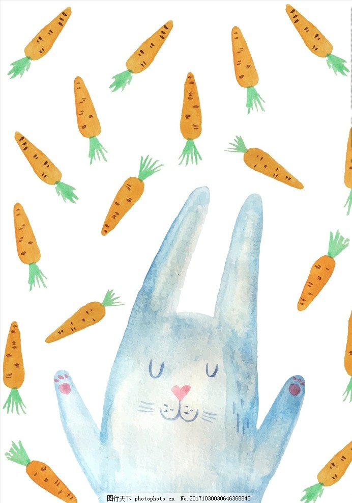 卡通兔子胡萝卜矢量图下载
