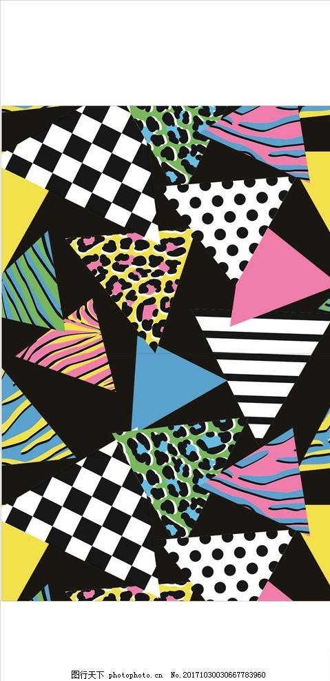 几何图形动物花纹四方连续底纹