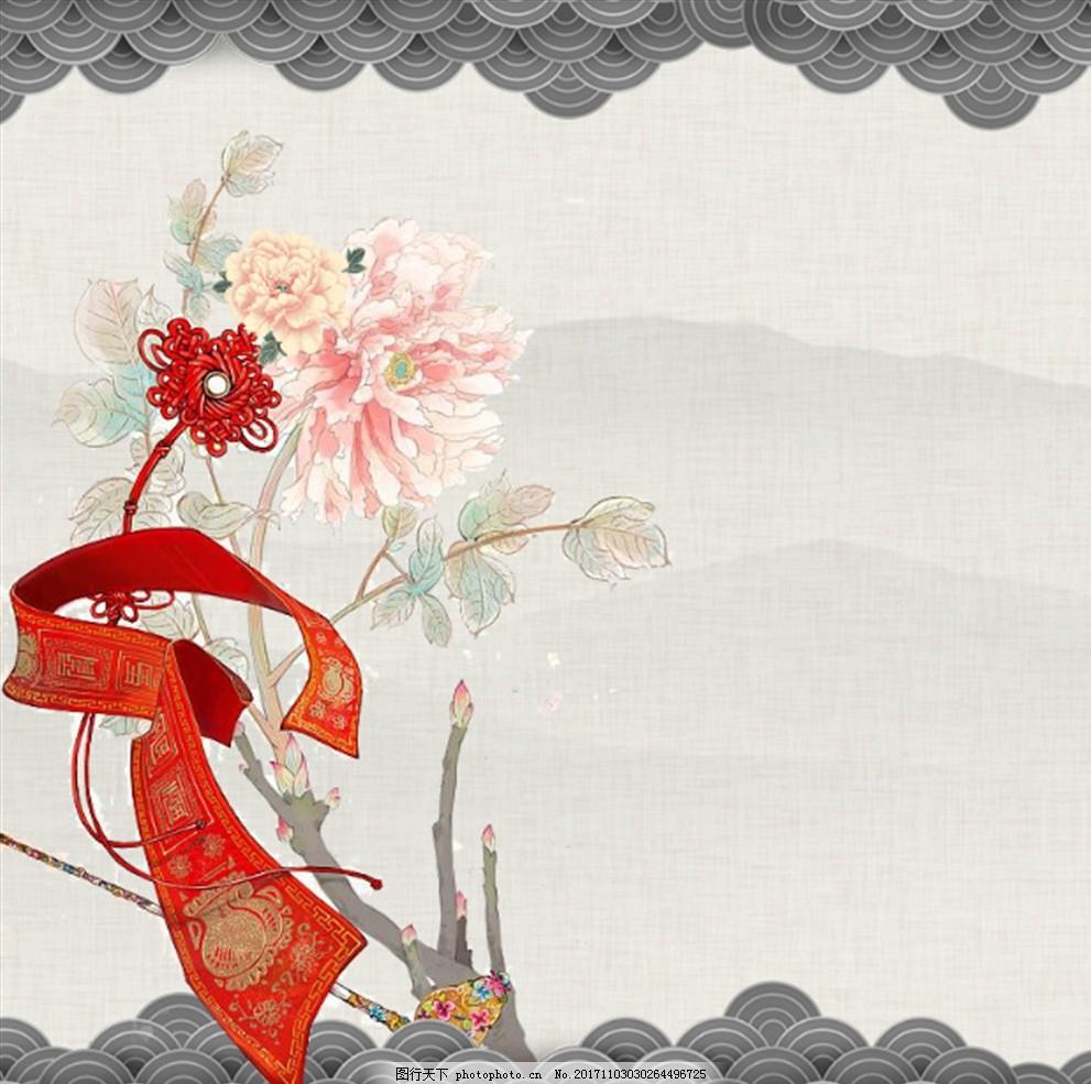 花朵背景 鲜花背景 手绘花背景 小清新展板 小清新背景 简约背景 古风