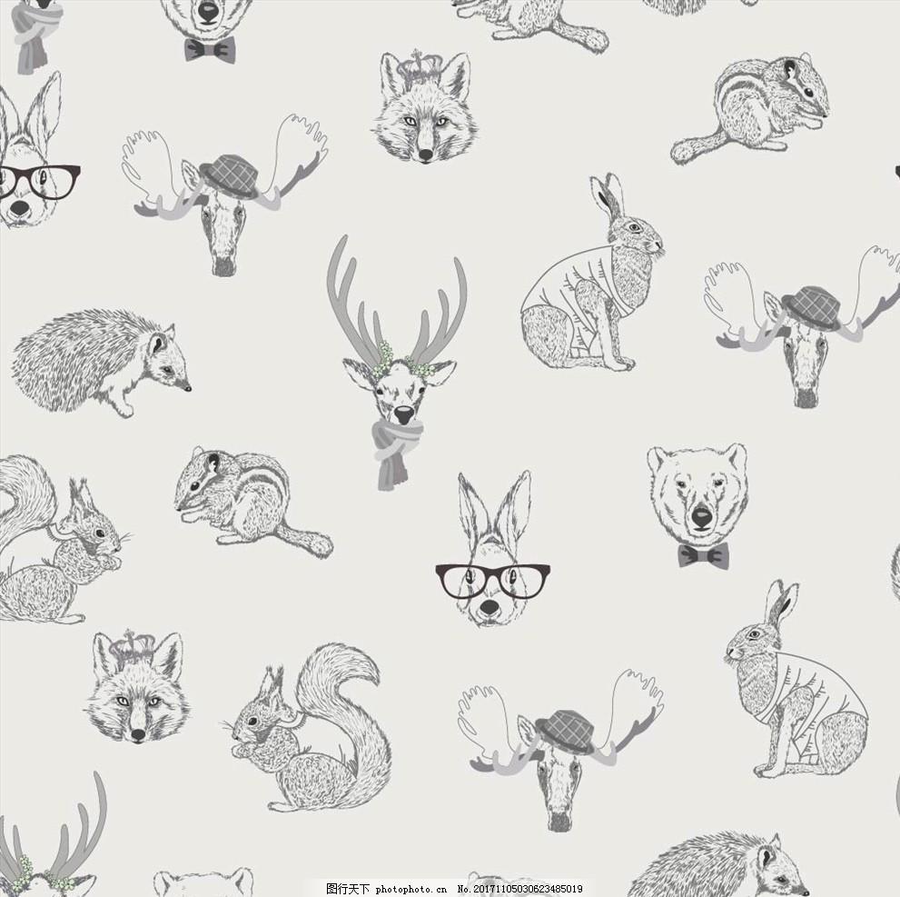 手绘动物头像四方连续底纹 男装设计 女装设计 箱包印花 男装印花