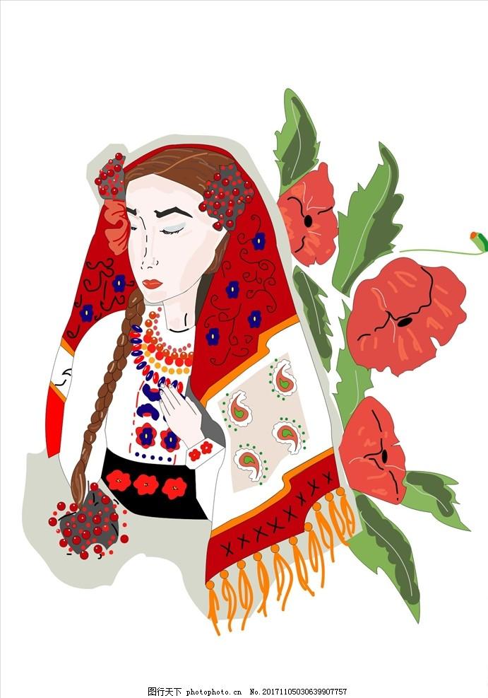 手绘美女插画花朵花卉矢量图下载 男装设计 女装设计 箱包印花 男装
