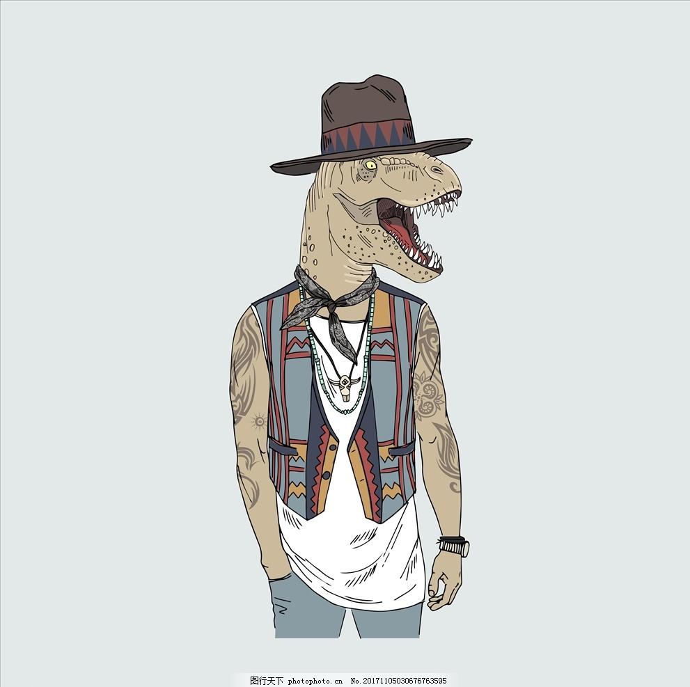 侏罗纪世纪 手绘恐龙 卡通恐龙 牛仔 西部牛仔 纹身 夹克 矢量图案