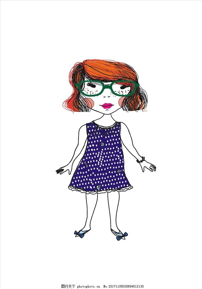 卡通女孩矢量图下载 男装设计 女装设计 箱包印花 男装印花 女装印花