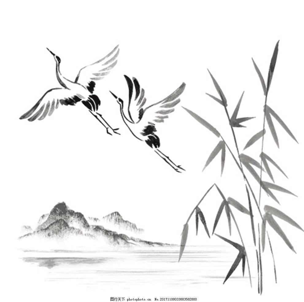 中国风海报素材 中国风 飞鹤 竹子 水墨 山水 中国风素材 水墨 设计