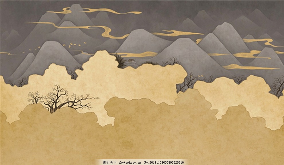 现代简约抽象山水壁画图片