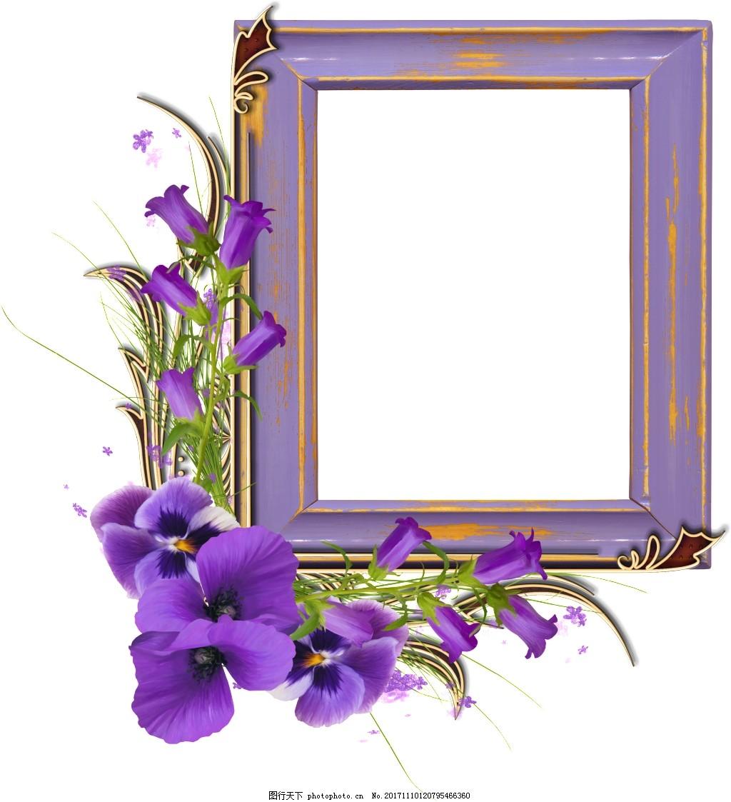 现代唯美鲜花长方形框架png透明素材