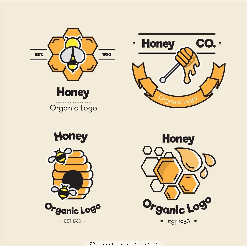 小蜜蜂插画 蜜蜂图标 蜂蜜图标 自然标签 山脉标签 动物标签 创意标签