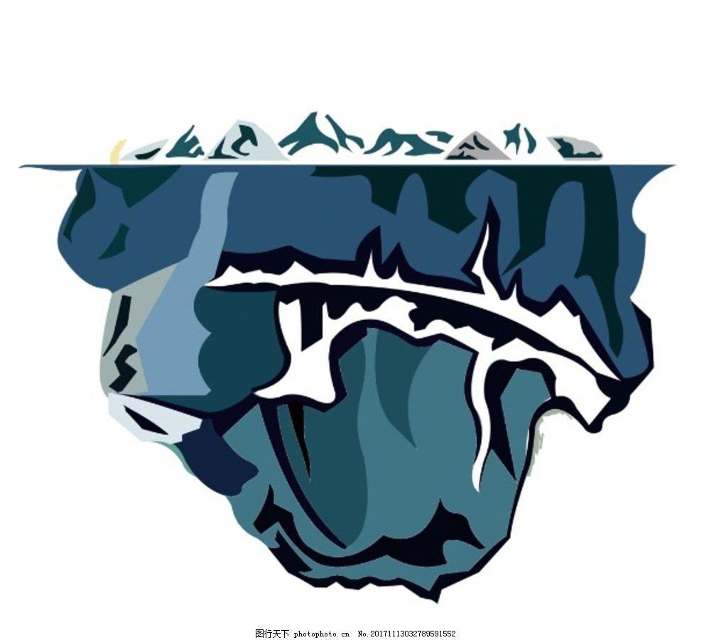可燃冰手绘 手绘冰山 冰山素材 冰插画