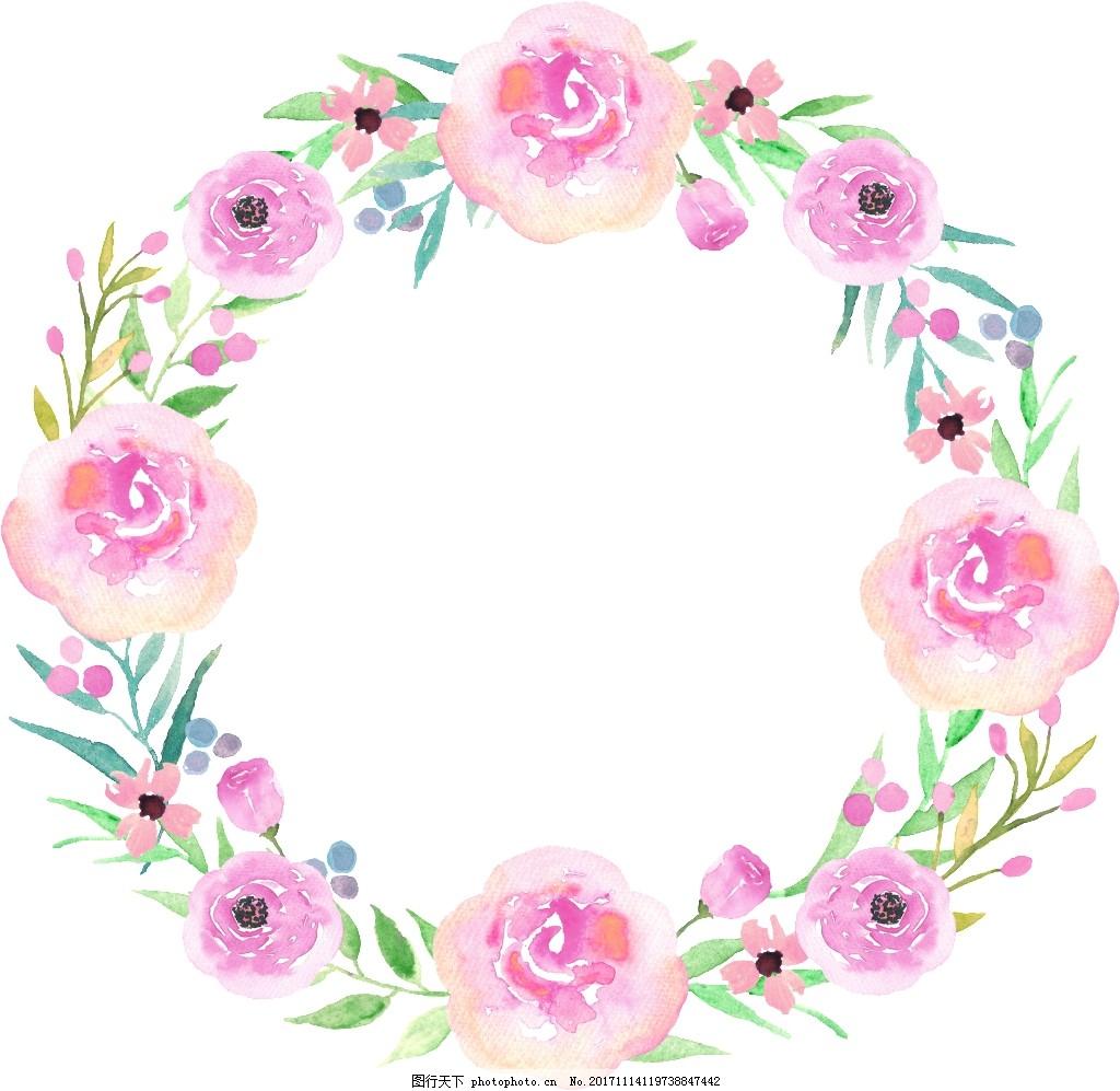 白粉花丛卡通透明装饰素材