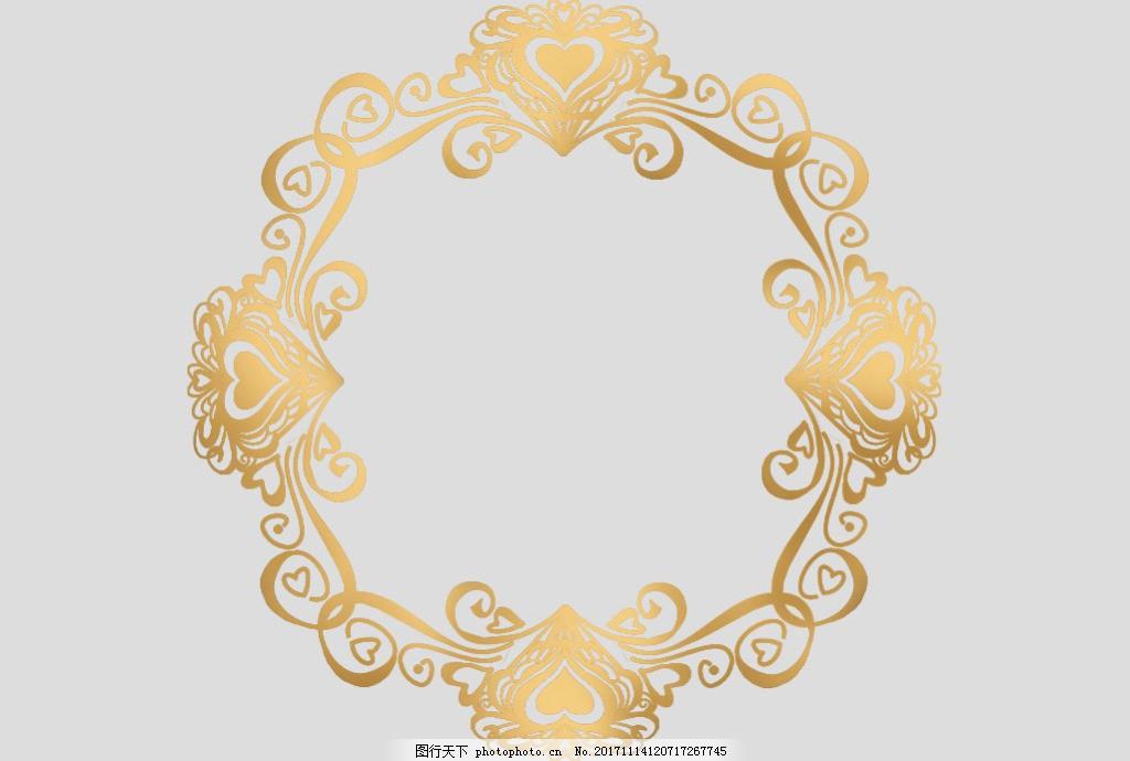 金色圆形花卉边框免抠psd透明素材