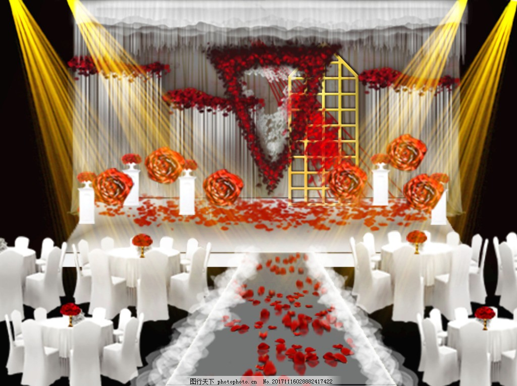 白红色欧式婚礼效果图 红白 西式 简约风 纯白 婚礼素材