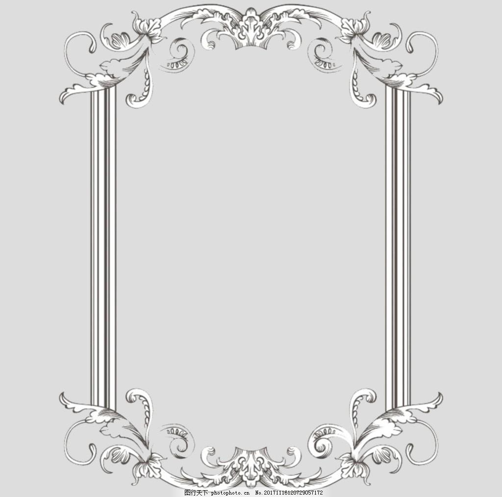 手绘古风花卉边框免抠psd透明素材 手绘古风花卉花边 手绘古风花卉