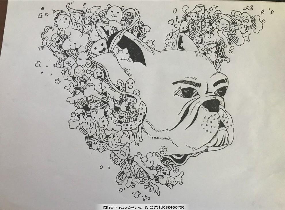 黑白手绘 针管笔画 创意手绘 动物 插画 漫画 文化艺术 绘画书法