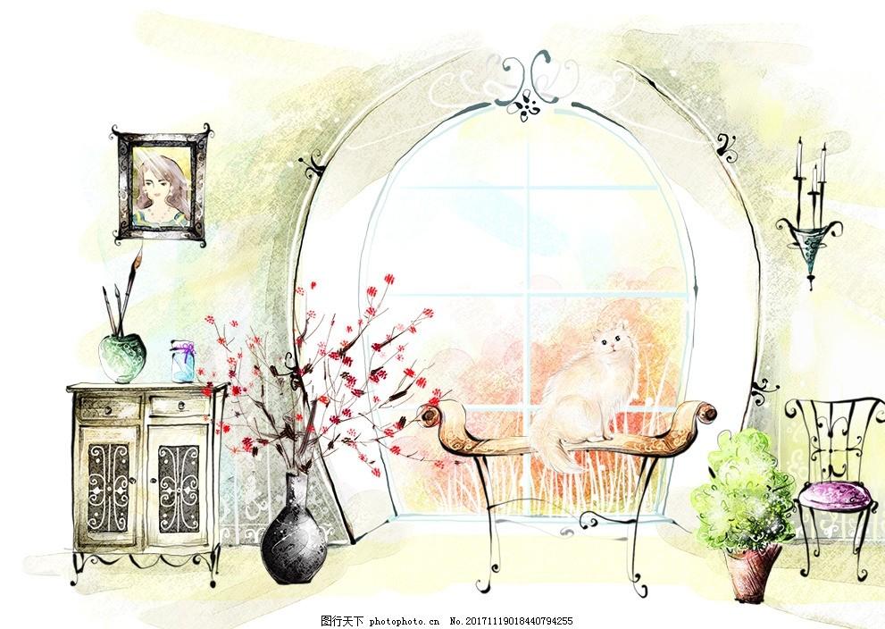 设计图库 动漫卡通 风景漫画  美好家居手绘图 青春梦想生活 现代家居