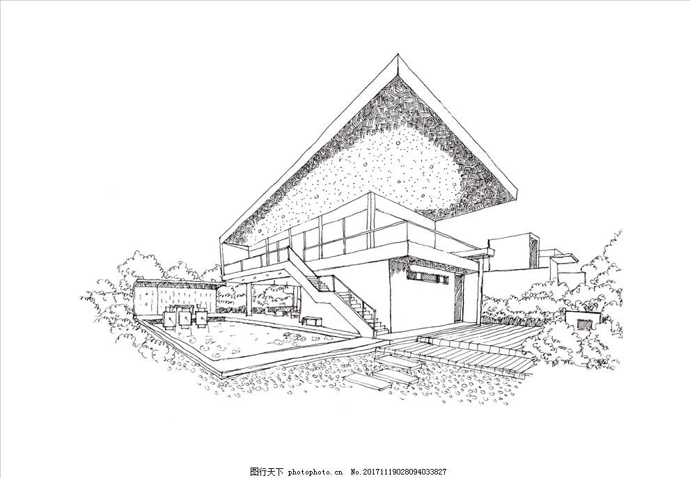建筑手绘图 建筑线稿 设计手稿 钢笔画