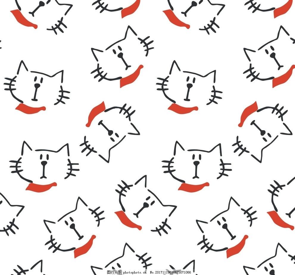 猫咪 印花图案 印花素材 线条 动物 花鸟 水果 几何 抽象墙纸