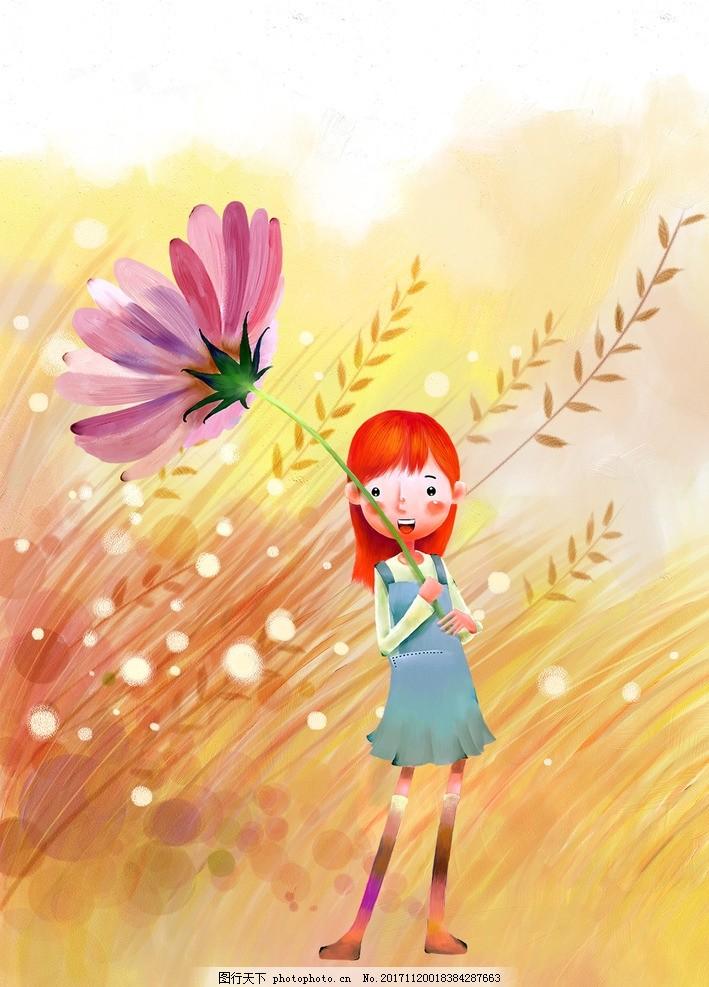 卡通可爱小女孩 可爱卡通绘图 手绘图 少女拿花 花伞 风中少女
