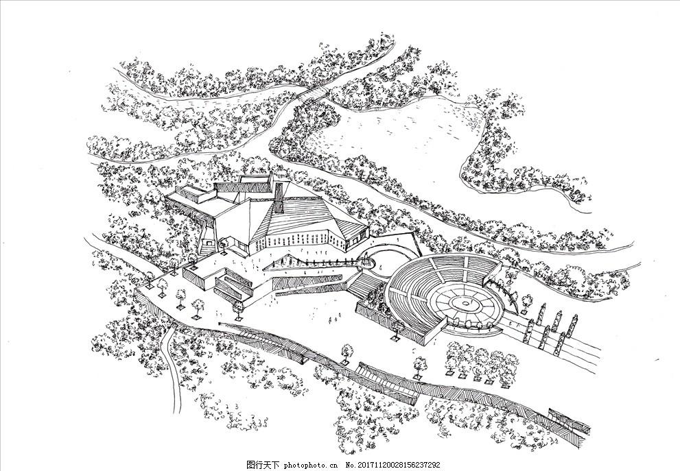 某景观广场手绘稿 景观手稿 建筑手稿 园林设计手稿 钢笔画